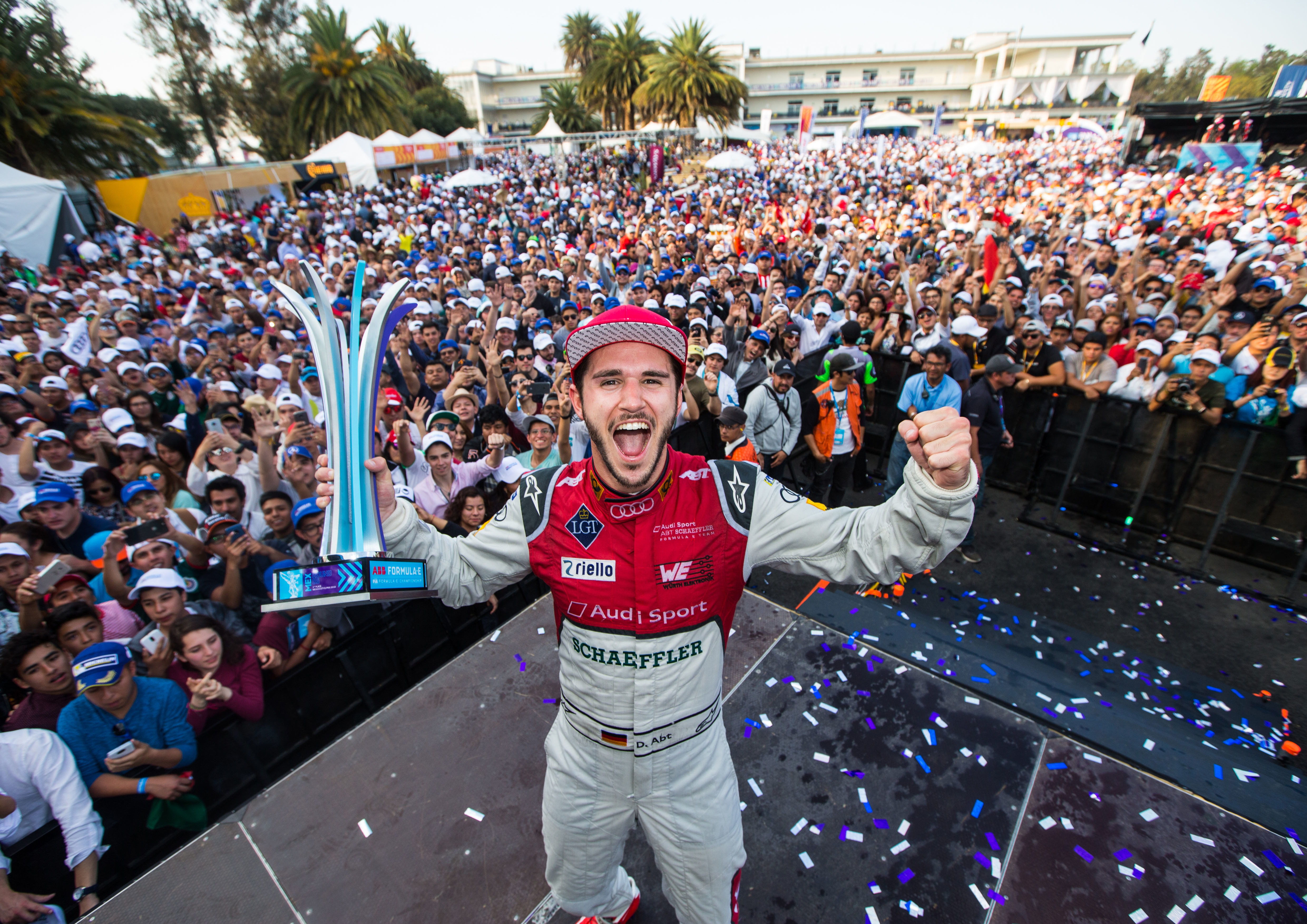 Daniel Abt in occasione della sua ultima vittoria in Formula E, il 3 marzo 2018 a Mexico City.