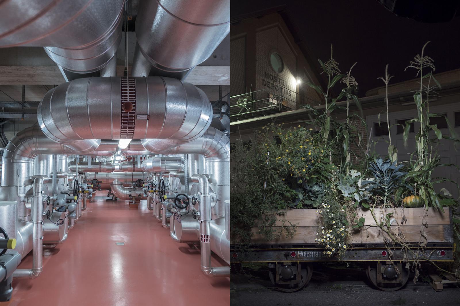 Dans l'installation communale de valorisation des déchets, l'énergie contenue dans les ordures servira à produire de l'électricité et de la chaleur. Des matériaux combustibles seront stockés dans une batterie saisonnière en vue d'être utilisés l'hiver pour générer de l'énergie (à gauche). Les concepts d'urban gardening et d'urban farming se sont déjà invités dans le quotidien. Winterthour verra très bientôt des façades d'habitation entièrement végétalisées. Le «vertical gardening» ne se contente pas d'embellir la ville, il contribue aussi à en purifier l'air (à droite). (Robert Huber)